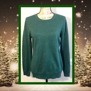 BASIC EDITIONS GREEN SPARKLE SWEATER